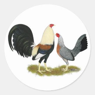 Pares grises de las aves de juego pegatina redonda