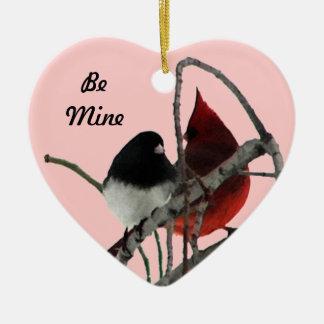 Pares impares de los pájaros del amor adorno de cerámica en forma de corazón