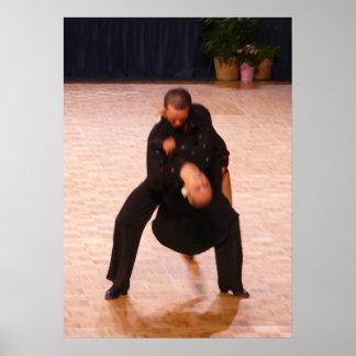 Pares latinos de la danza de salón de baile (negro impresiones