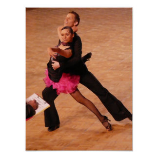 Pares latinos de la danza de salón de baile (negro póster