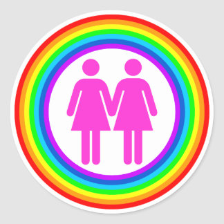 Pares lesbianos del arco iris etiquetas redondas