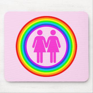 Pares lesbianos del arco iris alfombrilla de ratón