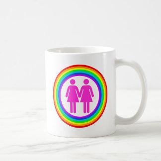 Pares lesbianos del arco iris tazas de café