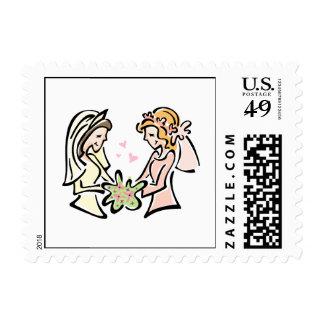 Pares lesbianos timbre postal