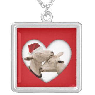 Pares lindos de la cabra del navidad grimpolas personalizadas
