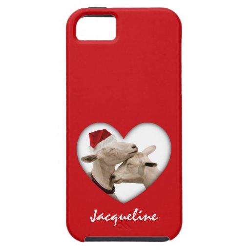 Pares lindos de la cabra del navidad iPhone 5 cobertura