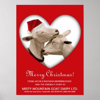 Pares lindos de la cabra del navidad póster