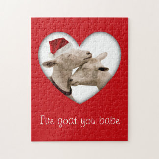 Pares lindos de la cabra del navidad rompecabeza con fotos