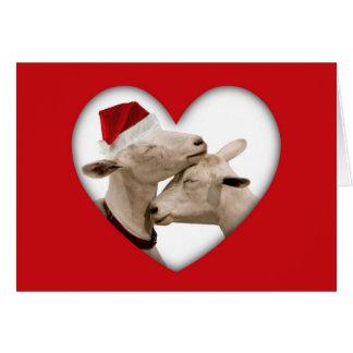 Pares lindos de la cabra del navidad tarjeta de felicitación