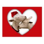 Pares lindos de la cabra del navidad tarjeta postal