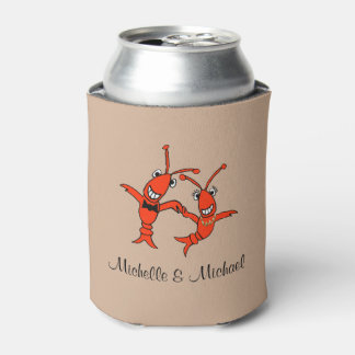 Pares lindos de los cangrejos enfriador de latas