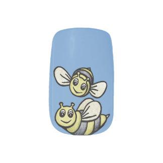 Pares lindos del abejorro en azul pegatinas para manicura
