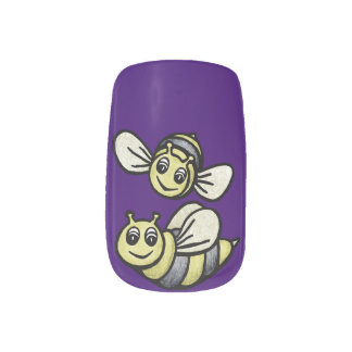 Pares lindos del abejorro en púrpura pegatinas para manicura