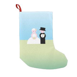 Pares lindos del boda calcetín de navidad pequeño