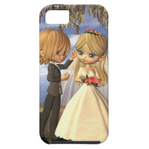 Pares lindos del boda de Toon en un balcón de la p iPhone 5 Case-Mate Fundas