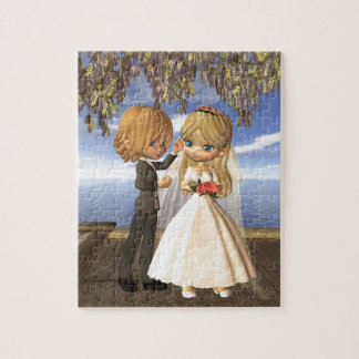 Pares lindos del boda de Toon en un balcón de la p Puzzles Con Fotos