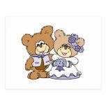 pares lindos del boda del oso de peluche del litte postal