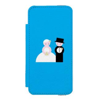 Pares lindos del boda funda billetera para iPhone 5 watson