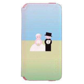 Pares lindos del boda funda billetera para iPhone 6 watson