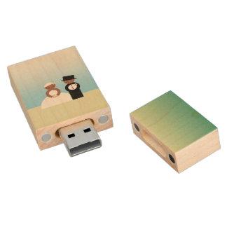 Pares lindos del boda pen drive de madera USB 2.0