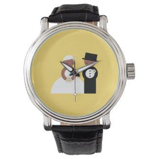 Pares lindos del boda reloj de mano