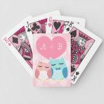pares lindos del búho del vector del dibujo baraja de cartas