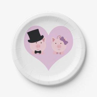 Pares lindos del cerdo plato de papel de 7 pulgadas