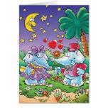 pares lindos del elefante de la tarjeta del día de