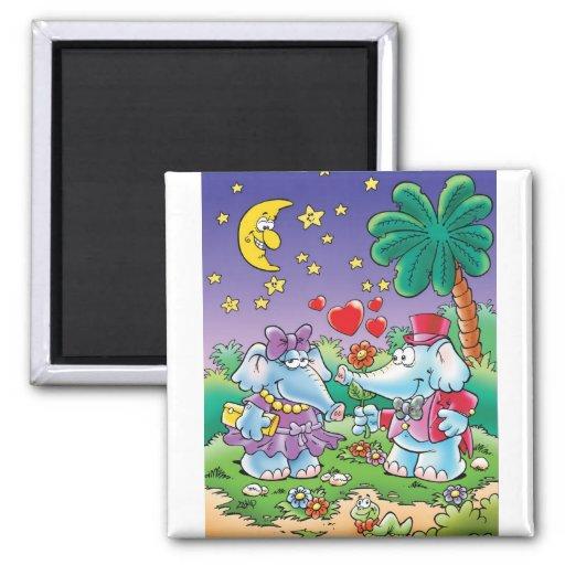 pares lindos del elefante de la tarjeta del día de imanes de nevera