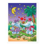pares lindos del elefante de la tarjeta del día de postal