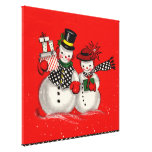 Pares lindos del muñeco de nieve impresion en lona