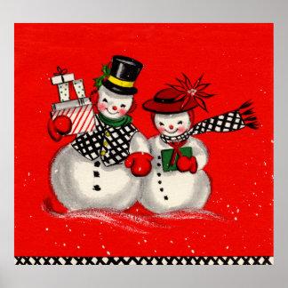 Pares lindos del muñeco de nieve posters