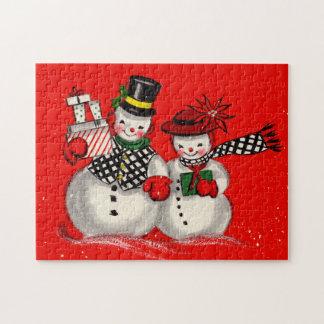 Pares lindos del muñeco de nieve rompecabeza