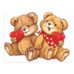 Pares lindos del oso de peluche de la tarjeta del  postal