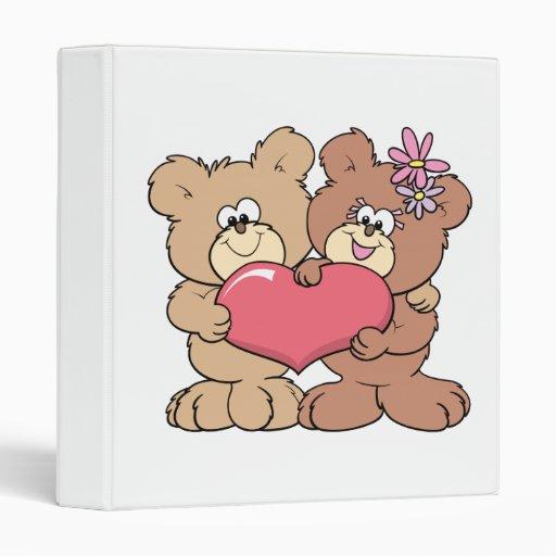 pares lindos del oso de peluche del corazón de la