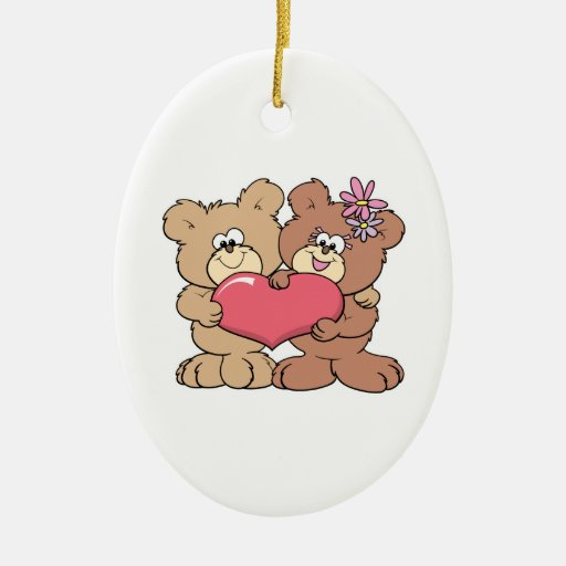 pares lindos del oso de peluche del corazón de la  ornamento para arbol de navidad