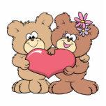 pares lindos del oso de peluche del corazón de la  escultura fotografica