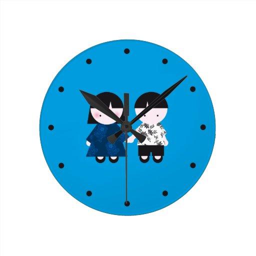 Pares lindos reloj de pared