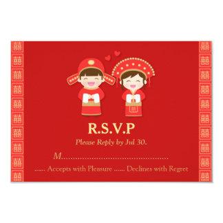 """Pares lindos RSVP del boda del chino tradicional Invitación 3.5"""" X 5"""""""