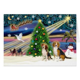 Pares mágicos del beagle de Navidad Tarjetas
