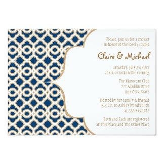 Pares marroquíes de los azules marinos y del oro invitación 12,7 x 17,8 cm
