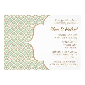 Pares marroquíes del oro de verde menta que casan invitación personalizada