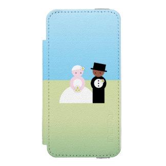 Pares mezclados lindos del boda funda billetera para iPhone 5 watson