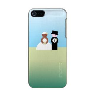 Pares mezclados lindos del boda funda para iPhone 5 incipio feather shine