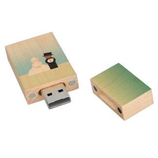 Pares mezclados lindos del boda pen drive de madera USB 2.0