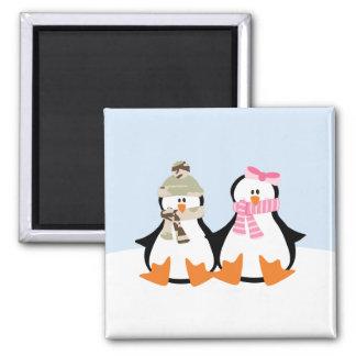 Pares militares del pingüino imán cuadrado