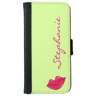 Pares personalizados de labios del rojo cereza funda cartera para iPhone 6
