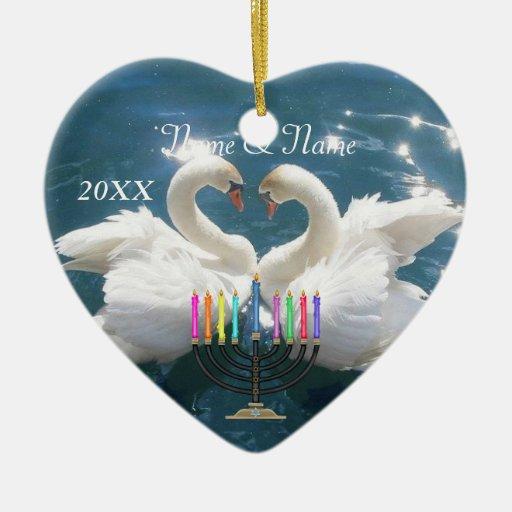 Pares personalizados del cisne del ornamento 2014 ornamento de navidad