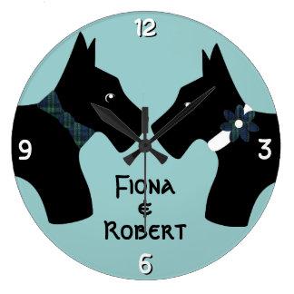 Pares personalizados del perro del escocés reloj redondo grande