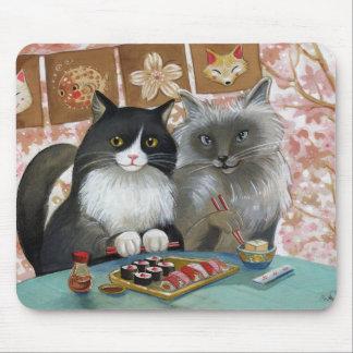 Pares preciosos del gato del sushi tapete de raton